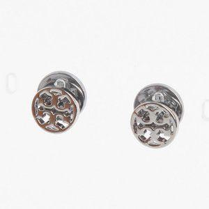 Tory Burch Stylish Wild Cutout- Logo Stud Earrings